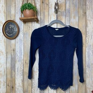 J. Crew Navy Lace Front Long Sleeve Blouse